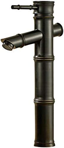 洗面用水栓金具 ブラックコンテンポラリーなハンドルトール船シンク浴室の蛇口洗面器のミキサータップ竹祭り 冷温水 (Color : Black, Size : S)