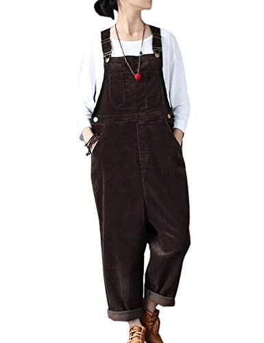 Flygo Women's Vintage Baggy Wide Leg Drop Crotch Corduroy Bib Overalls Jumpsuits Pants (US 8-14, Coffee)