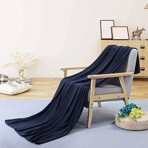 PuTian Australian Ultrasoft Merino Wool Blanket Silky Throw for Summer Lightweight Machine Washable,Dark Navy