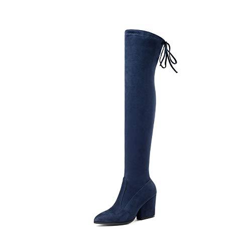 Con De Botas Tacones Rodilla 34 Azul Otoño Haoliequan Altas Punta Invierno 43 La Zapatos Mujer Patas Estrecha Sobre Tamaño wHwqtO