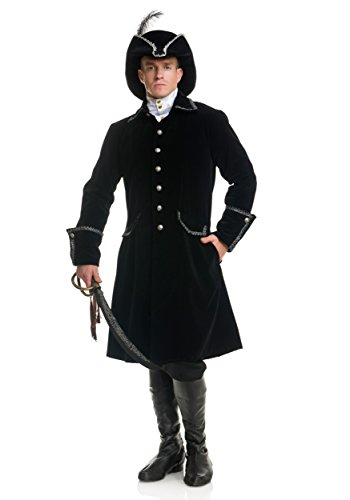 Pirate Jacket Adult Costume Black (X-Large) (Pirate Costume Jacket)