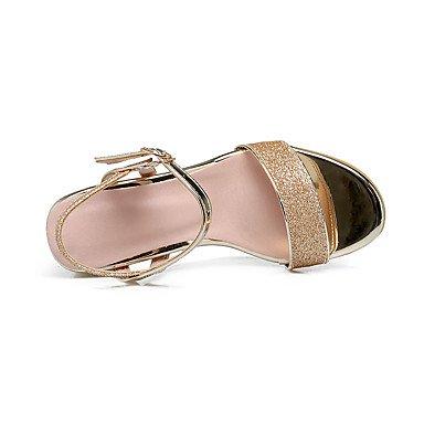 LvYuan Mujer Sandalias Confort Tira en el Tobillo Cuero Patentado Verano Vestido Confort Tira en el Tobillo Lentejuela Tacón RobustoDorado Plata blushing pink