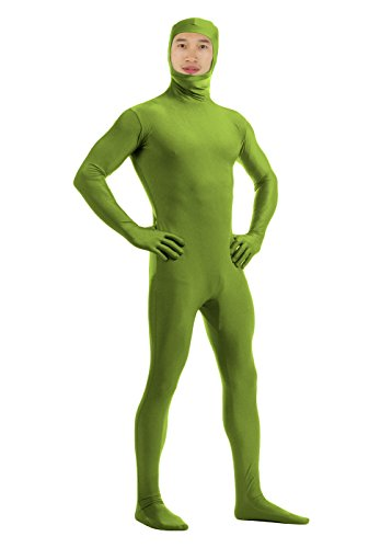 [JustinCostume Men's Spandex Open Face Zentai Bodysuit, M, Army Green] (Green Man Body Suit)