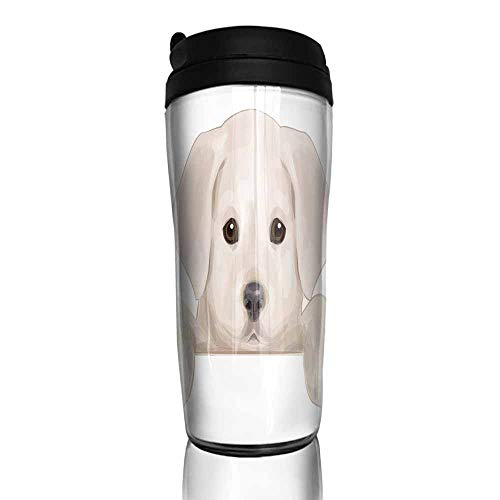 (coffee cups with lids 16 oz Baby,Cute Puppy Hiding with its Little Adorable Paws Labrador Dog Illustration,Tan Brwon Dark Taupe 12 oz,coffee sippy cup for adults)