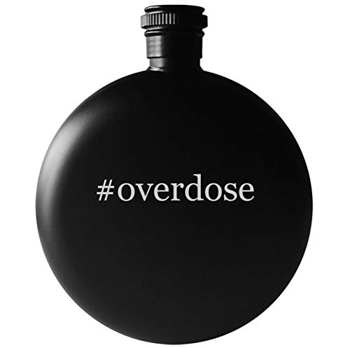 Gungrave Hat - #overdose - 5oz Round Hashtag Drinking Alcohol Flask, Matte Black
