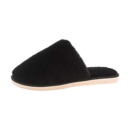 GHrcvdhw Breathable Sweat-Absorbing Non-Slip Indoor Slippers Casual Flat with Stylish Flock Slippers Women Shoes Black