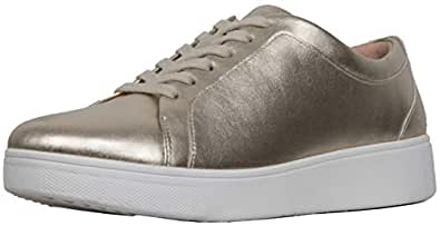 FitFlop Women's Rally Leather Sneakers, Platino, Size 5