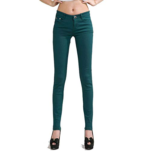 Autumn shallow Fate Women Pants Candy Pencil Pants Slim Casual Stretch White Jean,Dark Green,29