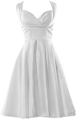 MACloth Women Fitted Sweetheart Knee length Wedding Party Bridesmaid Dress Blanco
