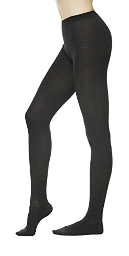 Women's Winter Wool Rib Knit Sweater Footed Tights (One Size : XS to M, Black) -