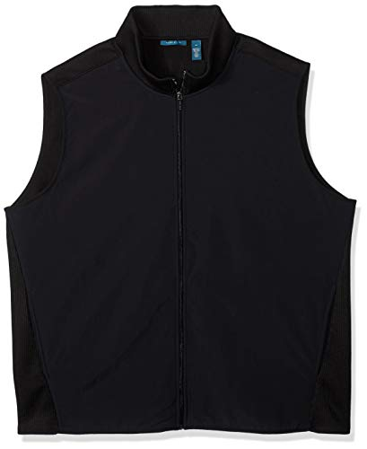 Perry Ellis Men's Big and Tall Stretch Fleece Vest, Black/DFK, 4XL