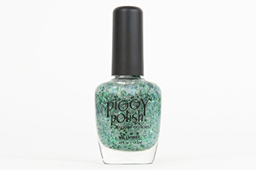 Piggy Polish Christmas Glitter Green Nail Polish, Fun, Glittery, Festive, Non Toxic Nail Polish, .5 oz