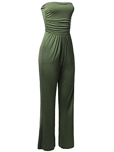 Casual Tube Top Strapless Stretchable Long Wide Leg Jumpsuit Sage L