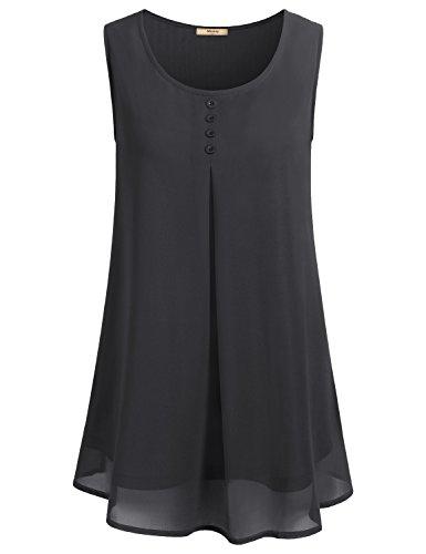 Black Pleated Chiffon - Cestyle 2XL Prime Shirts for Women, Juniors Sleevelss Flowy Crepe Cool Soft Button Casual Crew Neck Pleated Drape Chiffon Blouse Tank Top Shirt Black XXL