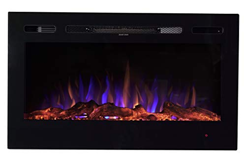 "EdenBranch 36"" Black Wall Mounted or Built in Recessed Electric Fireplace w/Log Flame Effect EdenBranch"