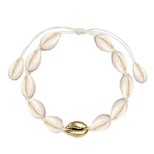 CENAPOG Cowrie Shell Anklets for Women Girls Teen Boho Anklet Bracelets Shell Hemp Ankle Bracelets Cowry Beaded Foot Bracelet Handmade Unisex Hawaiian Beach Jewelry - Gold Shell Ring