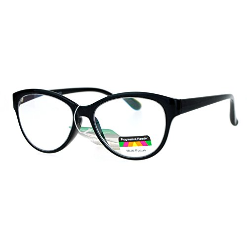 Womens 3 Eye (Multi Focus Progressive Reading Glasses 3 Powers in 1 Reader Cat Eye Black +2.50)