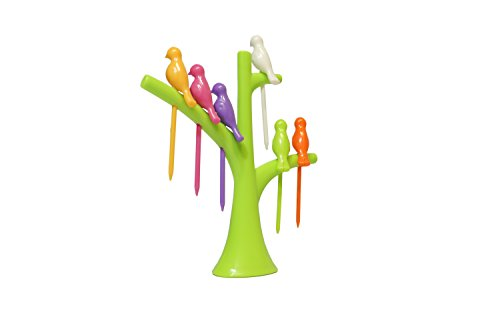 Plastic Fruit Fork Spears Set of 6 Birdies with Tree Shaped Holder, Fancy Toothpicks, Assorted Color Mini Skewers for Cheese Cubes, Bento Box, Crudité, Hors D'oeuvres, Finger Food At Cocktail Parties