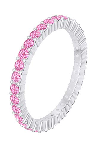 AFFY 14k White Gold Over Sterling Silver Round Cut Simulated Pink Tourmaline Full Eternity Band Ring Size 7