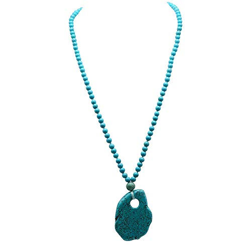 Turquoise Shape Necklace Irregular - JYX Turquoise Necklace 6-10mm Vibrant Blue Round Turquoise Necklace with a irregular shape Turquoise Pendant AAA Handmade Gemstone Beads Necklace 25