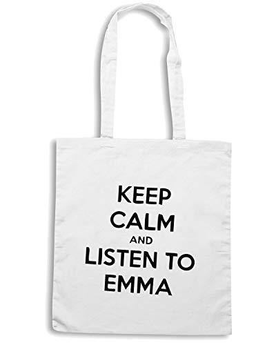 Speed Shirt Borsa Shopper Bianca TDM00145 KEEP CALM AND LISTEN TO EMMA