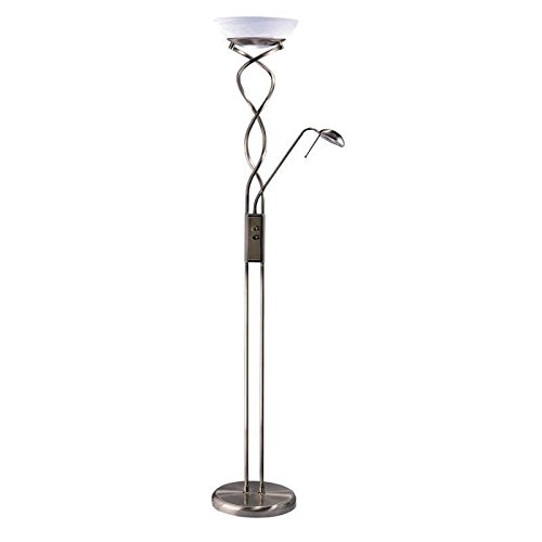 Kendal Lighting TC4028-BLK 72-Inch Portable Spiral Torchiere Floor Lamp with Reading Light, Black with Faux Alabaster Glass Shade Art Deco Torchiere