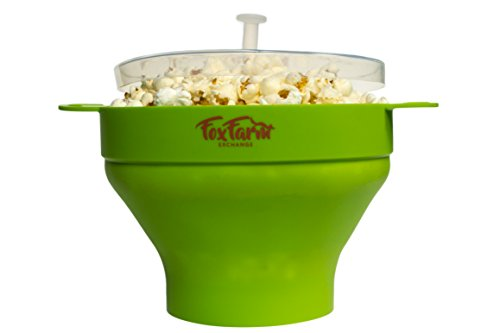 COLLAPSIBLE MICROWAVE POPCORN POPPER MAKER - cool touch handles serving bowl for quick easy healthy snack (Steam Bowl Microwavable compare prices)