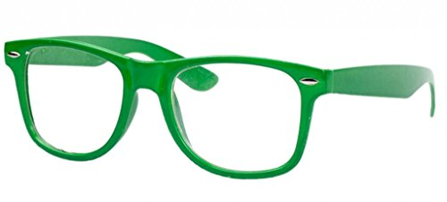 Bigood Retro Vintage Lens Frame Wayfarer Trendy Nerd Geek Glasses Green - Online Geek Glasses