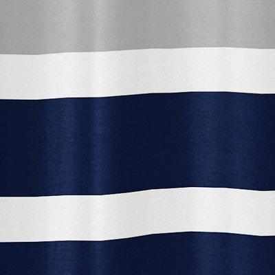 Sweet Jojo Designs Navy Blue, Gray and White Kids Bathroom Fabric Bath Teen Stripe Shower Curtain