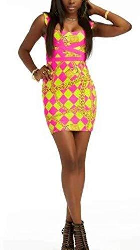Nicki Minaj Womens Pink & Yellow Harlequin Chain Sleeveless Sheath Dress-Size L ()