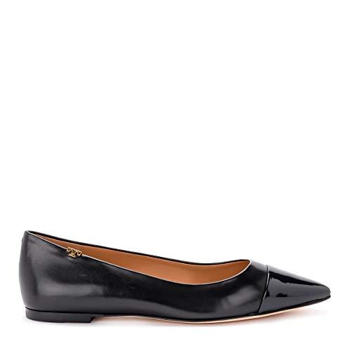 (Tory Burch Women's Penelope Black Nappa Flat Shoes with Blue Toe 41()-11(US) Black)