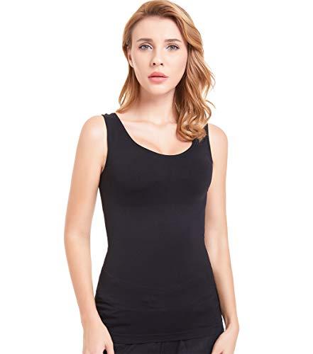 Bulking Women Slimming Tank top with Firm Tummy Control Shapewear Camisole Seamless Shaping Tops (Medium, U-Black)