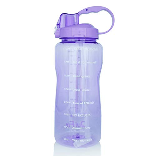 BuildLife Motivational Gallon Water Bottle 64OZ with Unique Timeline/Measurements/Goal Marked Times for Measuring Your Daily Water Intake, Large BPA Free Non-Toxic Water Jug (64OZ, 64OZ-Purple)