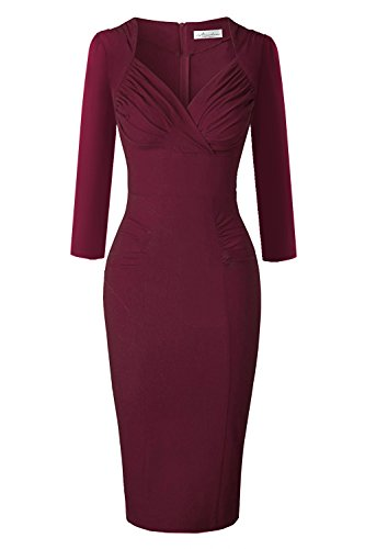 Newdow Lady's 50s Vintage V-neck Capsleeve Pencil Dress (Medium, Burgundy 3/4 (50s Ladies)