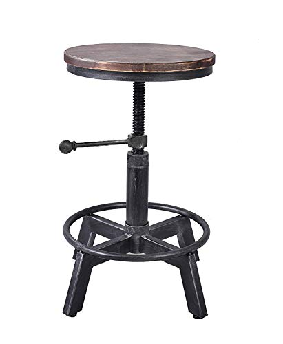 LOKKHAN Rustic Industrial Swivel Bar Stool,Adjustable Height Metal Wood Stool,Cast Iron Pipe Bar Stool,Kitchen Counter Height