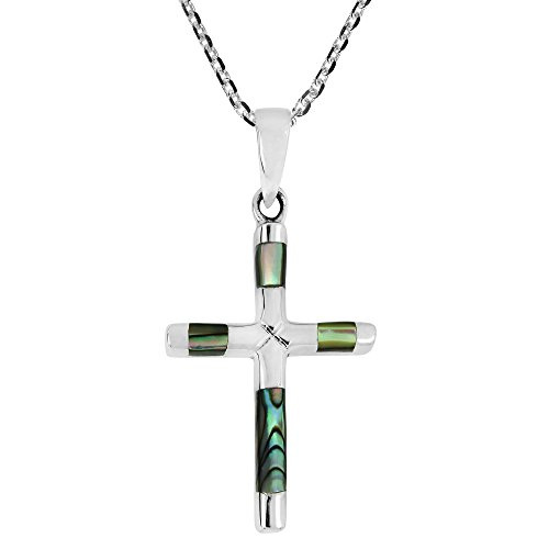 AeraVida Elegant X Cross Abalone Shell Inlay .925 Sterling Silver Pendant Necklace