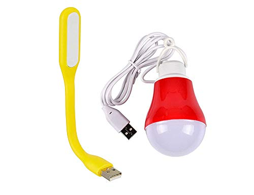Shoponix Combo of Portable; Flexible USB LED Light and 5W Mini USB Wired Bulb for Laptop, Desktop, Powerbank