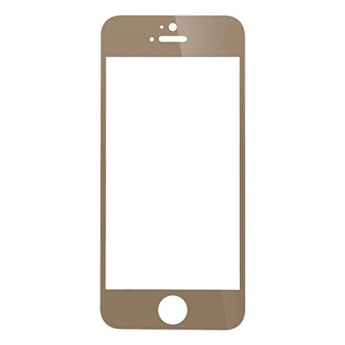I PHONE 5 Full Front Body Cover Coloured (GOLD) Tempered Full Glass Screen Protector Guard