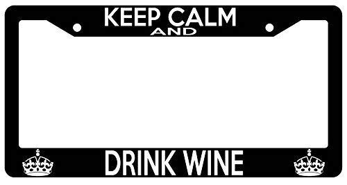 Racing angel Black Metal License Plate Frame Decoration - Tag Frame for Women/Man Keep Calm and Drink Wine