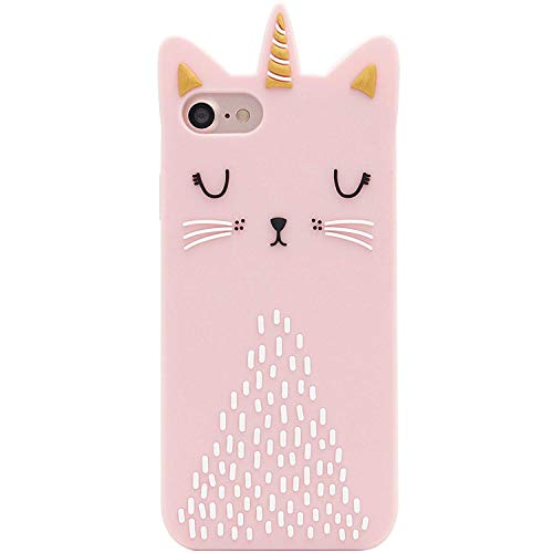 Artbling Cat Unicorn Case for iPhone 5 5S 5C SE Silicone 3D Cartoon Animal Pink Cover,Kids Girls Cool Lovely Cute Love Cases,Kawaii Soft Gel Rubber Unique Character Fashion Funny Protector for iPhone5 (5 Case Iphone Kitty)