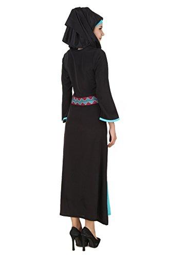 MyBatua Rima Negro y turquesa Crepe Abaya Burqa AY-463