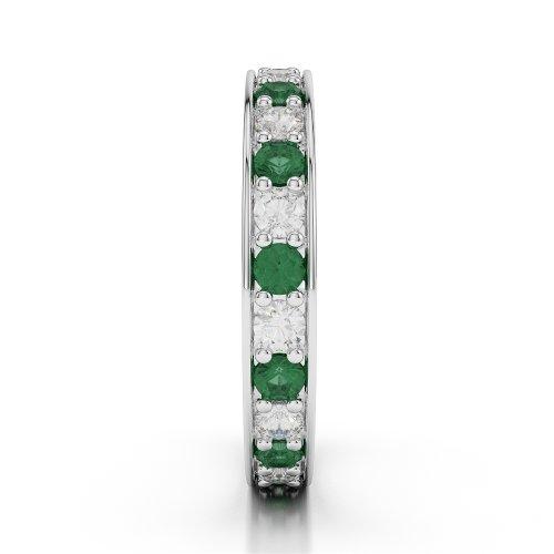 G-H/VS 0,66CT Coupe ronde sertie de diamants Émeraude et Full Eternity Bague en platine 950Agdr-1080