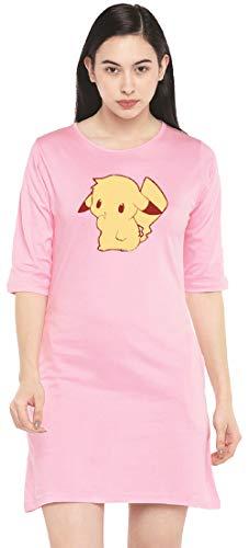 STATUS MANTRA Cotton Regular Fit Half Sleeves Printed Long T-Shirts for Women's | Tshirt Dress