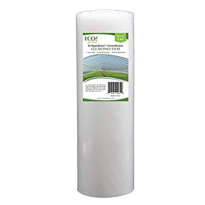 Greenhouse Clear Plastic Film – 25' x 20' 6mil, 4 Year UV Treated, Anti Condensation Heavy Duty Polyethylene by ECOgardener