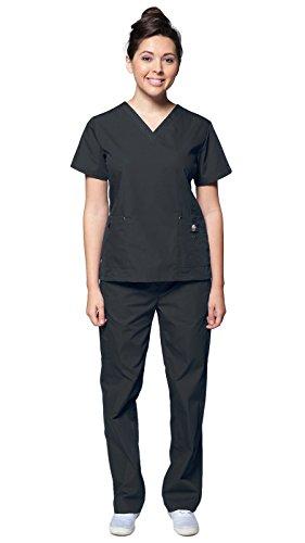 Dress A Med Women's Sleek Slim Fit Designer Rivet Pocket 2 Piece Scrubs Set ()