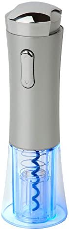 Honey-Can-Do KCH-03426 Rechargeable Wine Opener with Detachable Foil Cutter Cap, and Power Adapter, Metallic Gray Chrome