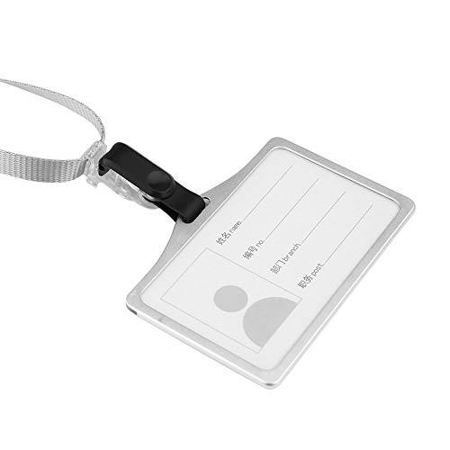 Tarjeta de identificaci/ón de negocios de conversi/ón de aluminio Tarjeta de trabajo Titular de la tarjeta Titular de la tarjeta de identificaci/ón con cadena Tarjeta de empleado Plata