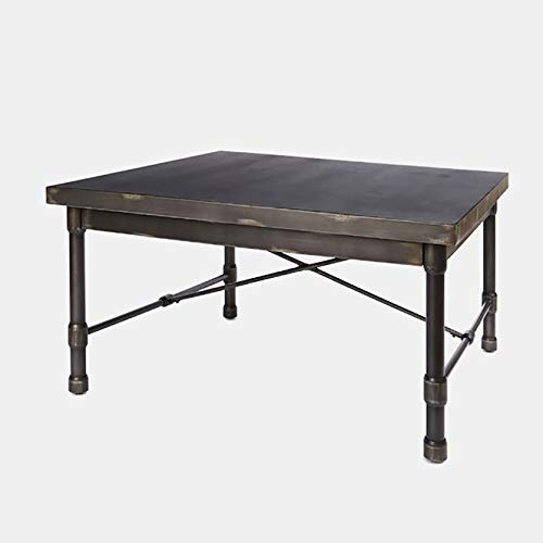 (Metal Coffee Table with X Shaped Brace - Coffee Table with Distressed Finish - Dark Bronze Metal)