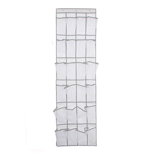 Nylon Hanging Shoe Organizer 24 Pockets Wall Mounted Shoe Rack with 3 Hooks by YAHUIPEIUS (White) by YAHUIPEIUS