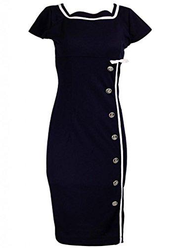 ClosetOnline Navy Blue Nautical Sailor Rockabilly Vintage Pinup Retro Pencil Women's Dress - X-Small (Wiggle Sailor Dress)